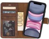 GALATA® uitneembare bookcase iPhone Xs Max hoesje 2in1 echt leer - Antiek Bruin_