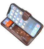 DiLedro - Ultra thin Uitneembare 2in1 echt leer iPhone 12 (Pro) Hoesje - Medium Brown_