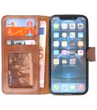 DiLedro - Ultra thin Uitneembare 2in1 echt leer iPhone 12 (Pro) Hoesje - Medium Cognac_