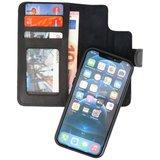 DiLedro - Ultra thin Uitneembare 2in1 echt leer iPhone 12 (Pro) Hoesje - Medium Black_