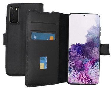 Lelycase Echt Lederen Booktype Samsung Galaxy S20 hoesje - Zwart
