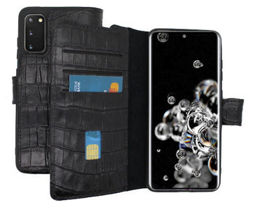 Lelycase Echt Lederen Booktype Samsung Galaxy S20 Ultra hoesje - Croco Zwart