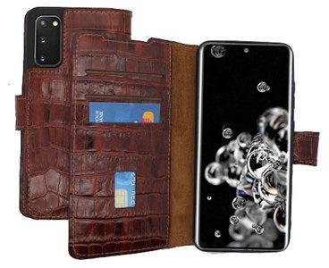 Lelycase Echt Lederen Booktype Samsung Galaxy S20 Ultra hoesje - Croco Bruin
