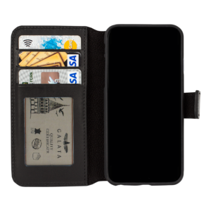 GALATA® Echte lederen book wallet ID - iPhone - zwart