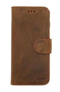 EkvaCase Echte Lederen Bookcase Samsung Galaxy A20e Hoesje - Roestbruin
