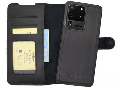 Galata - Lederen Samsung Galaxy S20 Ultra - Afneembare 2in1 BookCase - Zwart