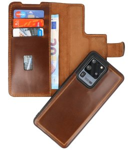 Lelycase - Lederen Samsung Galaxy S20 Ultra - Afneembare 2in1 BookCase - Roestbruin