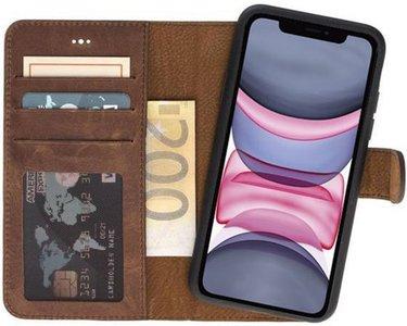GALATA® uitneembare bookcase iPhone Xs Max hoesje 2in1 echt leer - Antiek Bruin