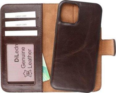 DiLedro iPhone 12 (Pro) Uitneembare Leer Hoesje Shock Proof - Dark Brown