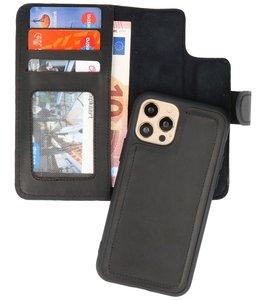 DiLedro - Ultra thin Uitneembare 2in1 echt leer iPhone 12 (Pro) Hoesje - Medium Black