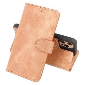 Lelycase Echt Lederen Booktype iPhone 12 (Pro) hoesje - Bruin