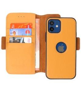 Lelycase - uitneembare bookcase iPhone 12 Mini hoesje 2in1 RFID - iPhone 12 Mini echt leer afneembaar 2-in-1 telefoonhoesje - Geel