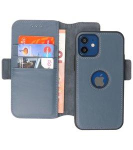Lelycase - uitneembare bookcase iPhone 12 Mini hoesje 2in1 RFID - iPhone 12 Mini echt leer afneembaar 2-in-1 telefoonhoesje - Blauw