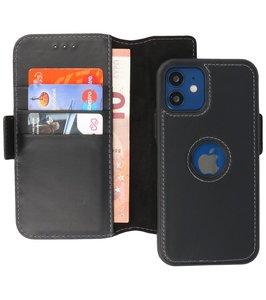Lelycase - uitneembare bookcase iPhone 12 Mini hoesje 2in1 RFID - iPhone 12 Mini echt leer afneembaar 2-in-1 telefoonhoesje - Zwart
