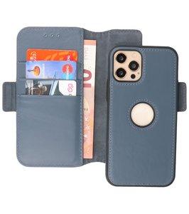 Lelycase - uitneembare bookcase iPhone 12 Pro Max hoesje 2in1 RFID - iPhone 12 Pro Max echt leer afneembaar 2-in-1 telefoonhoesje - Blauw