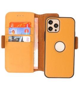 Lelycase - uitneembare bookcase iPhone 12 Pro Max hoesje 2in1 RFID - iPhone 12 Pro Max echt leer afneembaar 2-in-1 telefoonhoesje - Geel