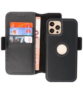 Lelycase - uitneembare bookcase iPhone 12 Pro Max hoesje 2in1 RFID - iPhone 12 Pro Max echt leer afneembaar 2-in-1 telefoonhoesje - Zwart